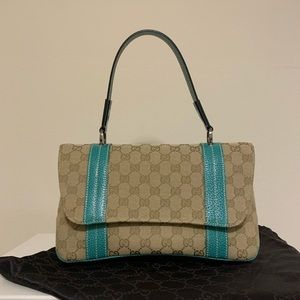 Gucci Canvas/Leather Flap Satchel Turquoise